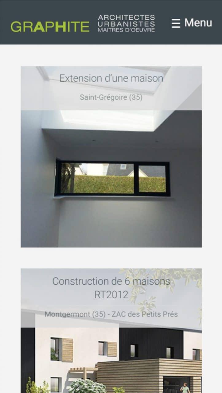 Page réalisations Graphite Architectes version mobile