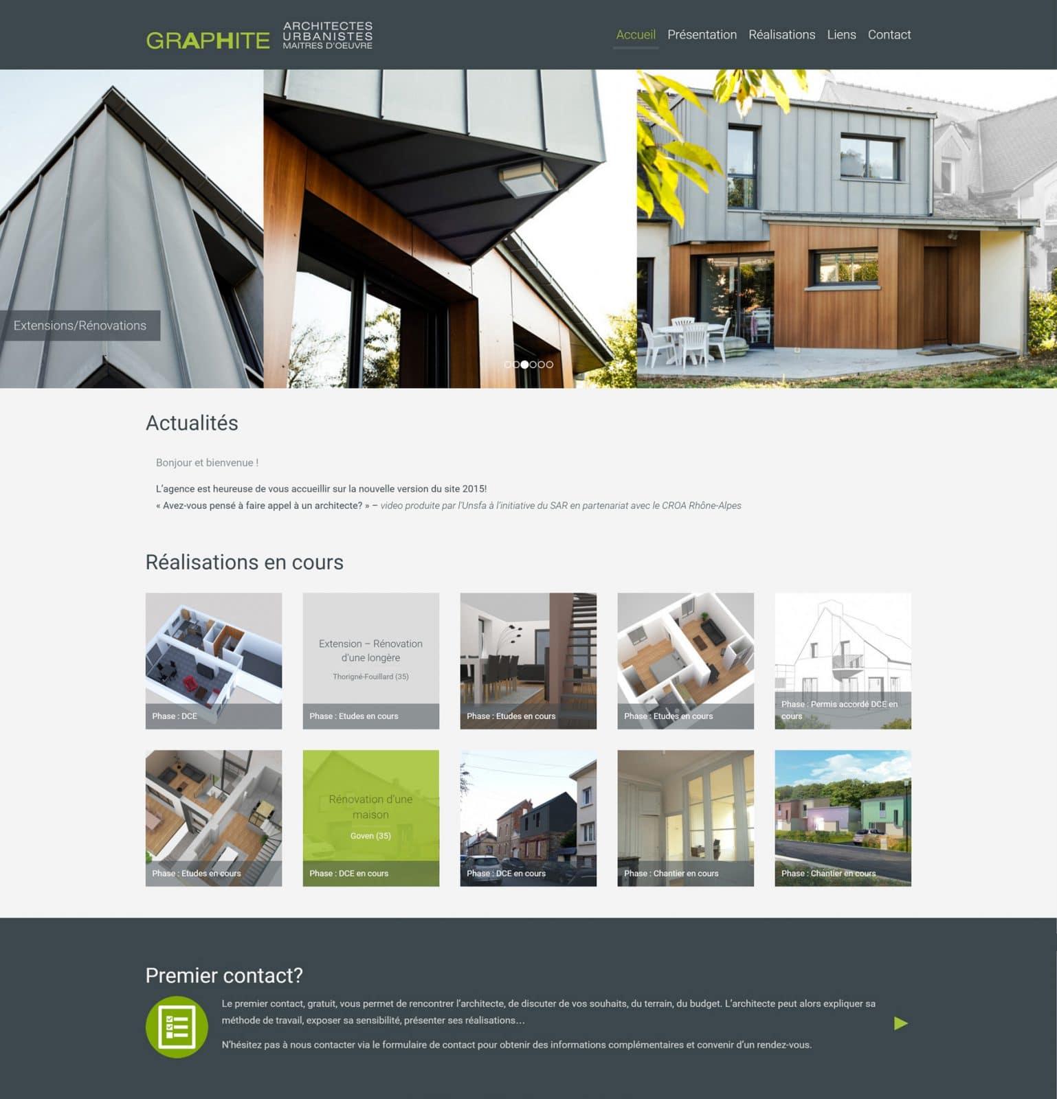 Page accueil Graphite Architectes