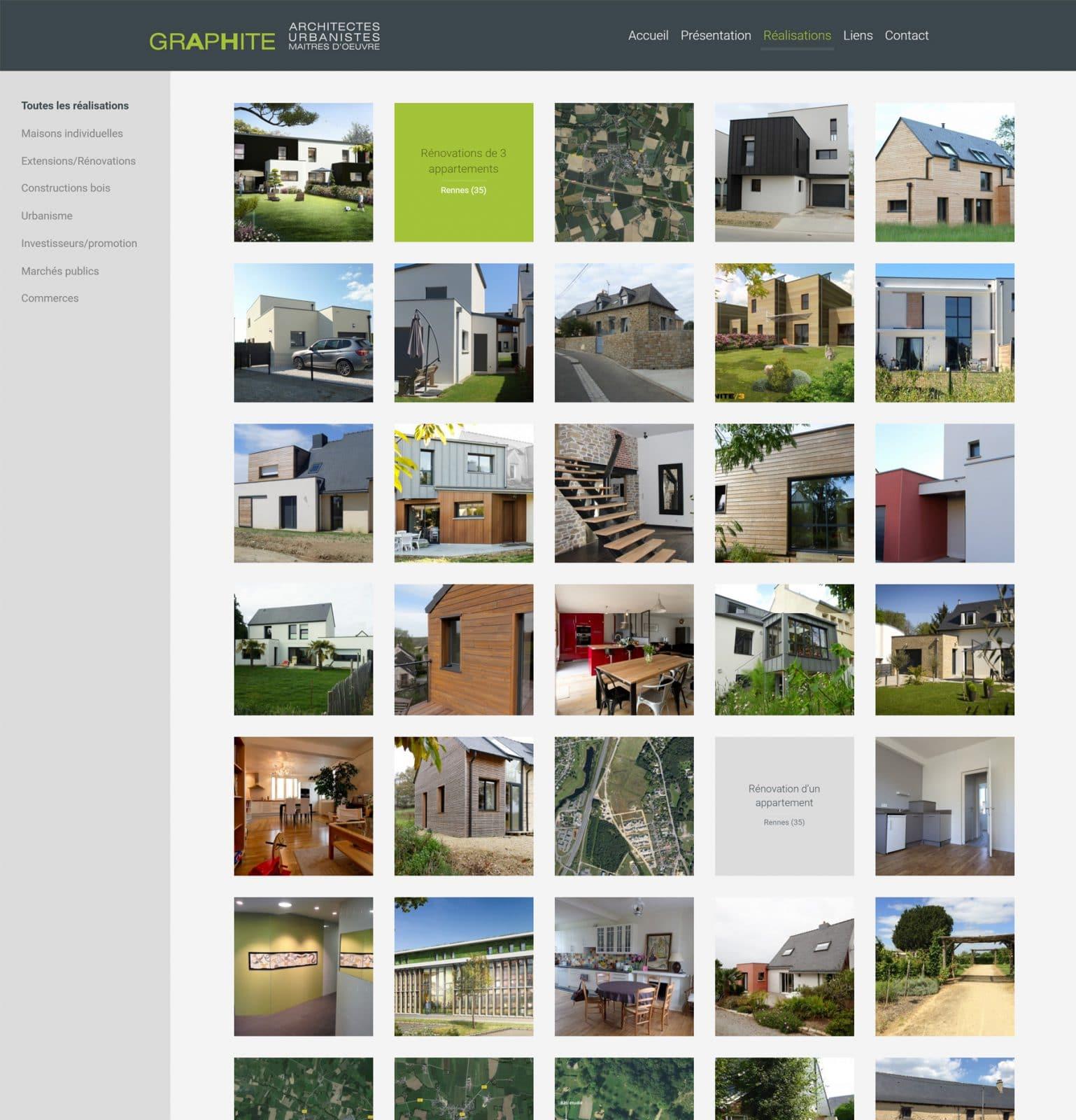 Page réalisations Graphite Architectes