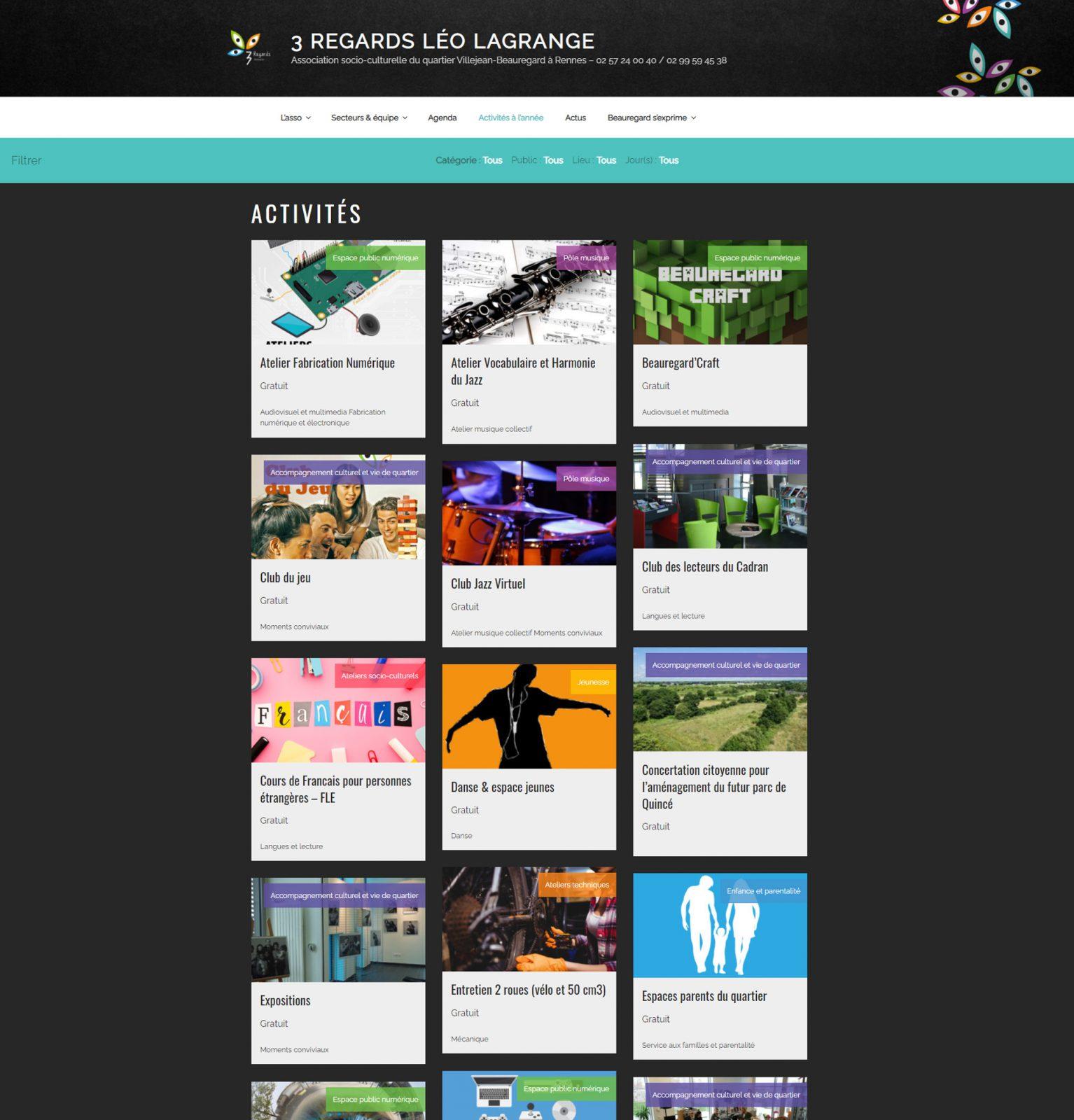 Page d'activités site web 3Regards