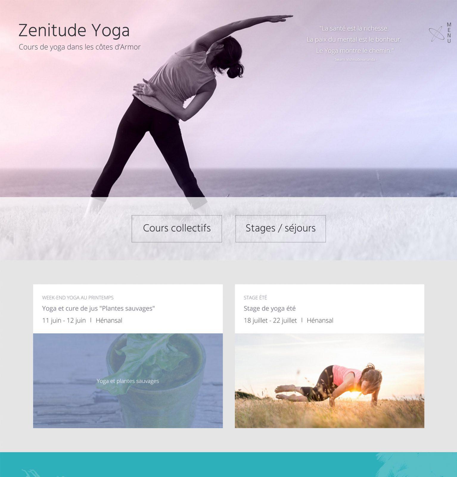 Page accueil Zenitude Yoga