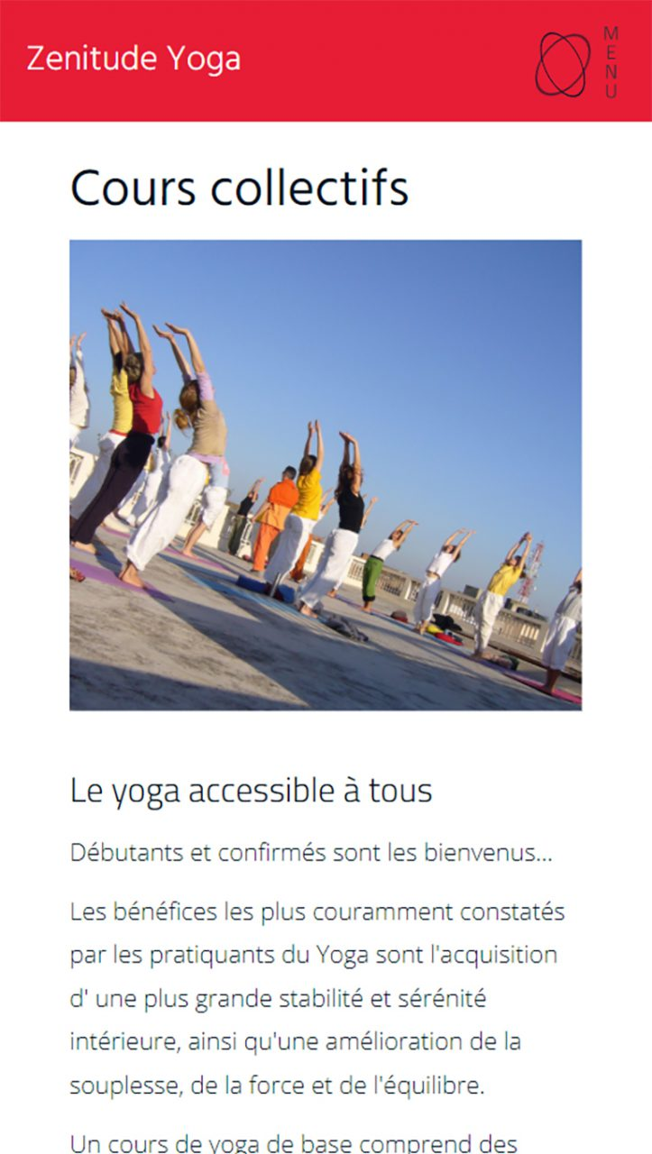 Page inscription Zenitude Yoga version mobile