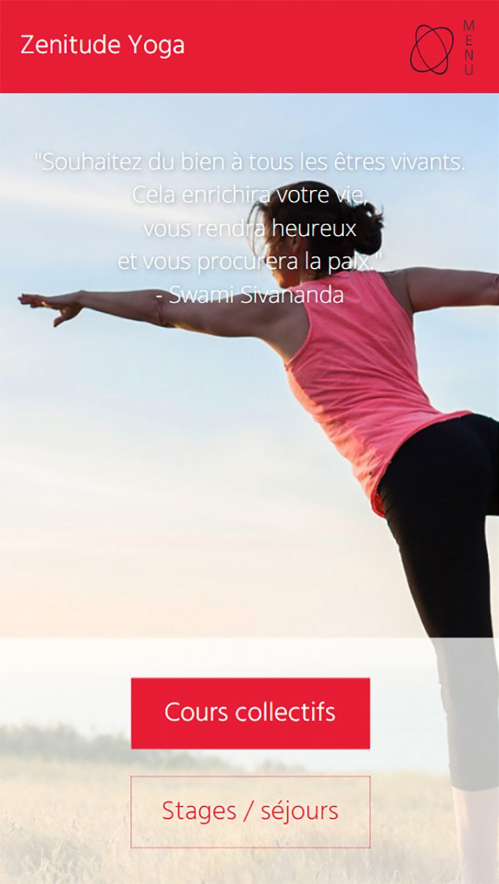 Page accueil Zenitude Yoga version mobile