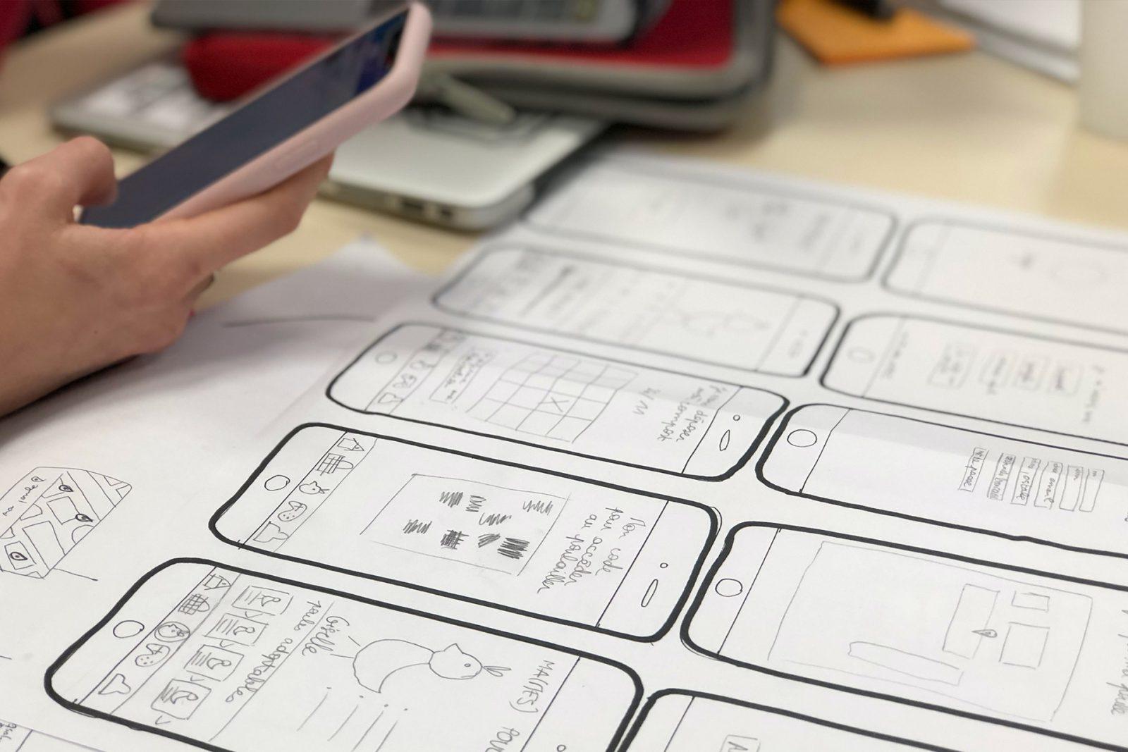Smartphone et wireframes
